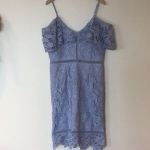 INA Lace Periwinkle OffShoulder Midi Dress